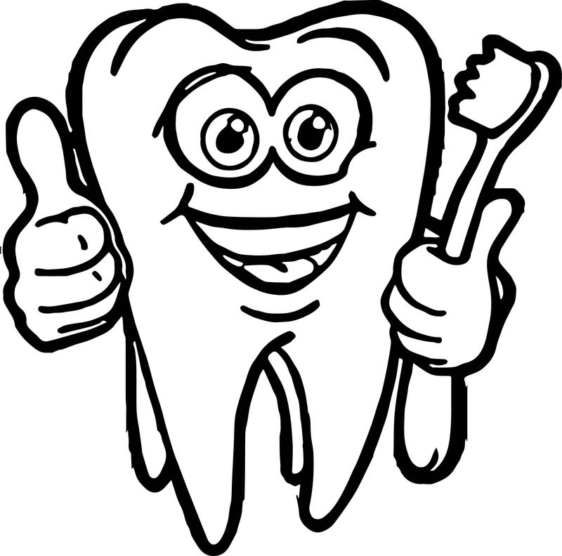 Dental Cartoon Super Tooth And Brush Coloring Page