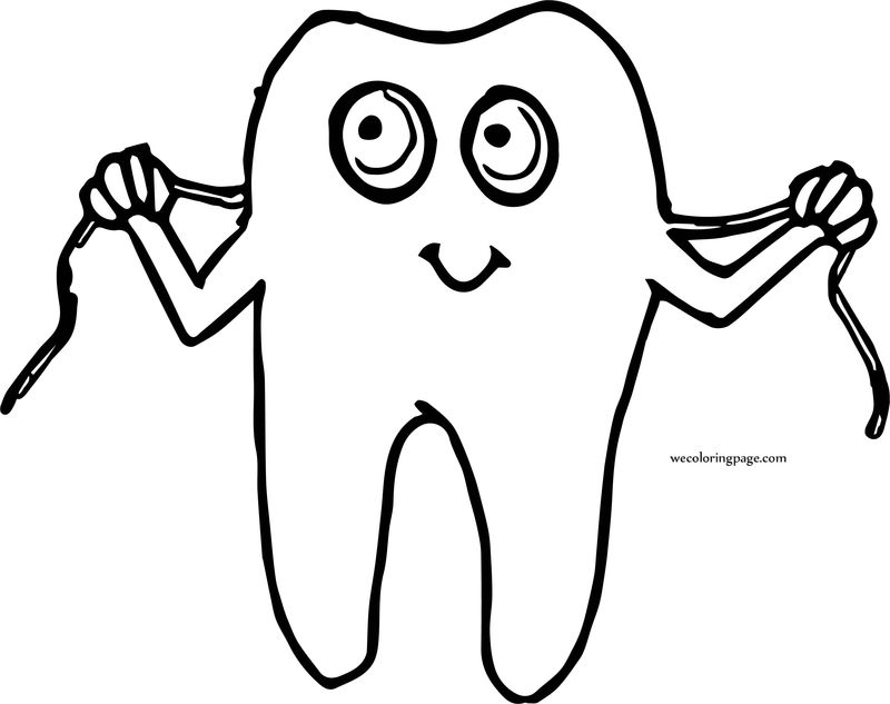 Dental Tooth And Rope Cartoon Coloring Page