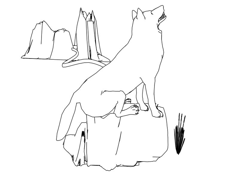 Descending From The Mountain Wolf Model Coloring Page