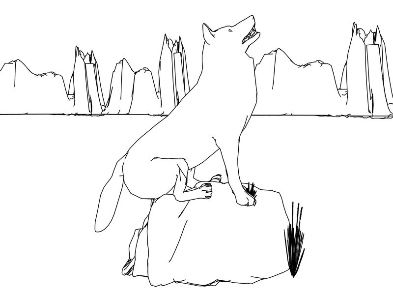 Descending From The Mountain Wolf Model Coloring Page01