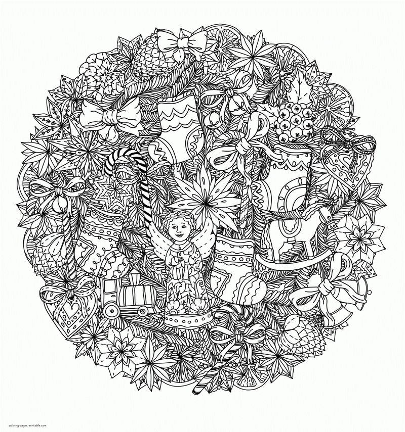 Detailed Christmas Ornaments Coloring Page For Adults