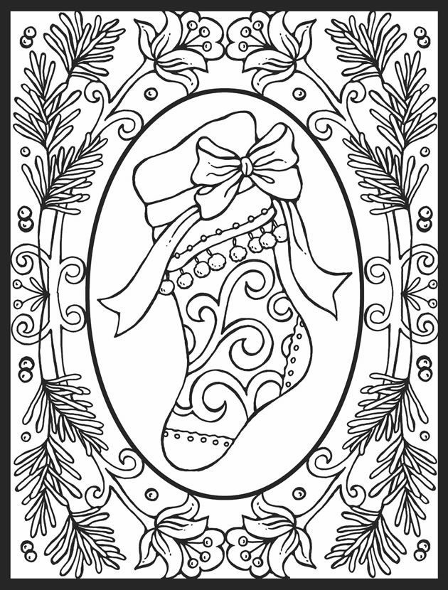 Detailed Christmas Stocking Coloring Pages 001