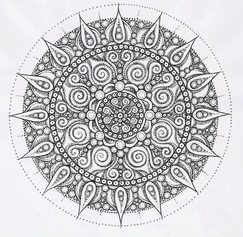 Detailed dotted flower mandala coloring page