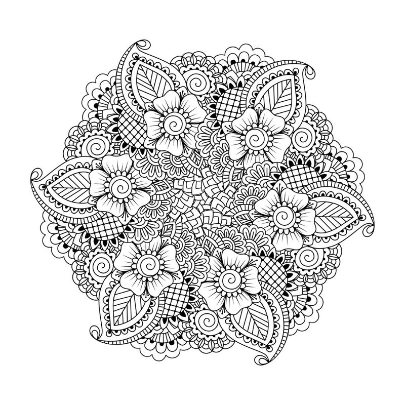 Detailed Flower Mandala Coloring Pages For Adults