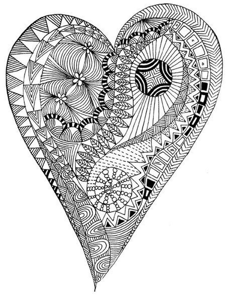 Detailed Heart Coloring Page For Adults