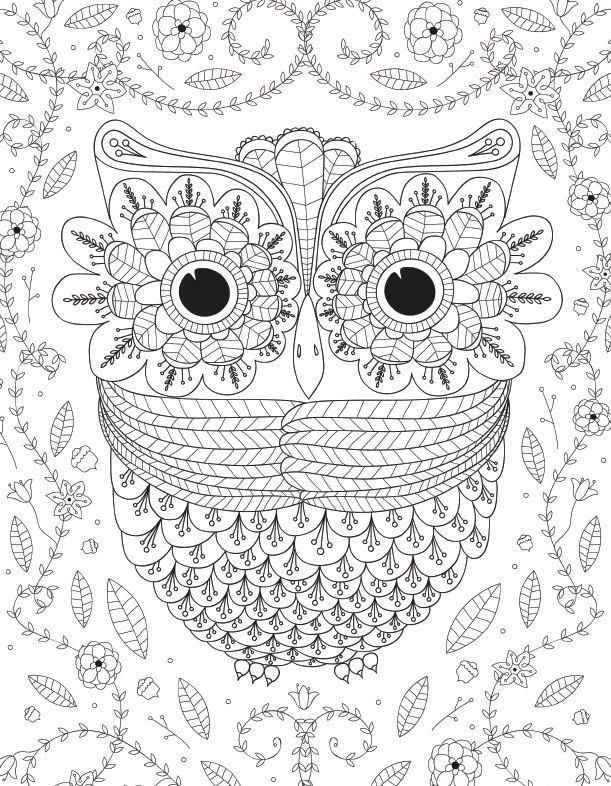 Detailed Owl Coloring Page For Adults