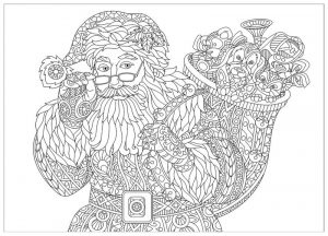 Detailed santa coloring page for adults