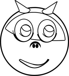 Devil horns smiley emology emoticon coloring page