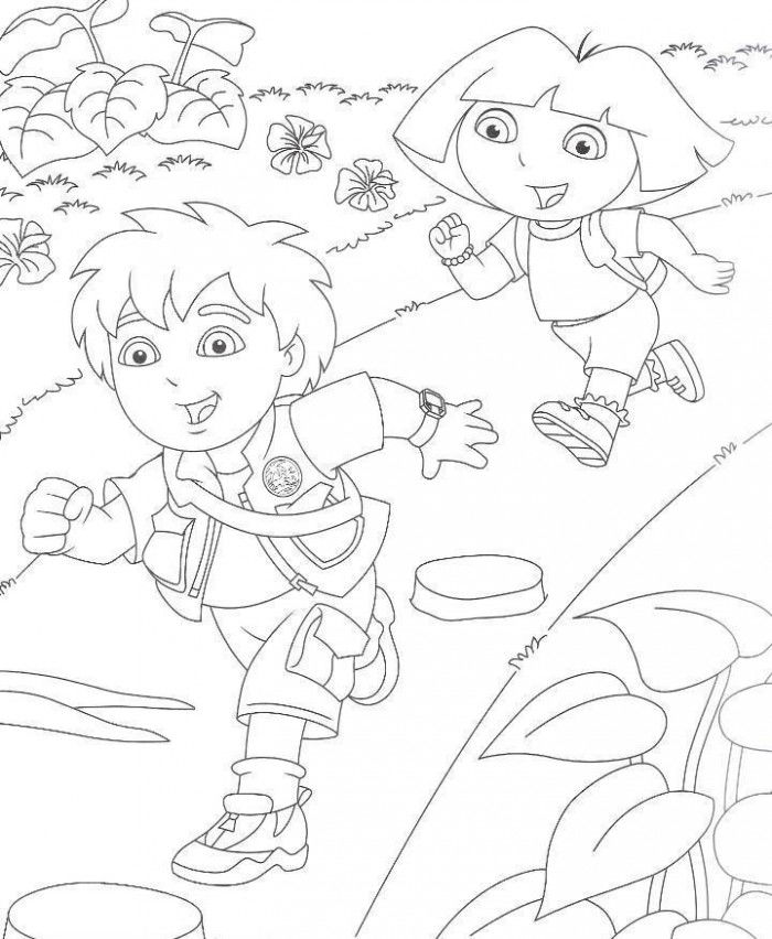 Diego And Dora Running Coloring Pages 001