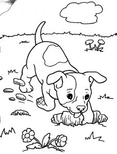 Digging dog coloring pages