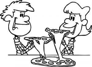 Dinner pizza cartoon coloring page