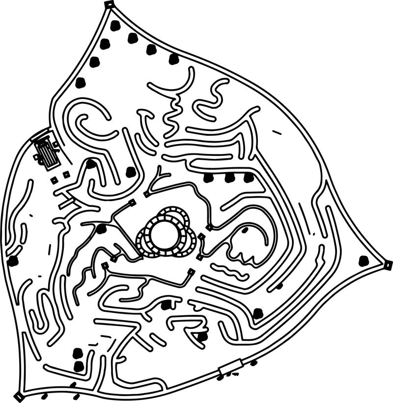 Disney Alice In Wonderland Queen Of Heart Castle And Maze Labyrinth Map Coloring Page