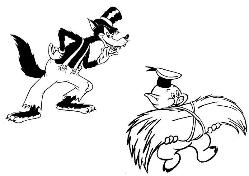 Disney Bad Wolf And Disney Fiddler Pig Coloring Page