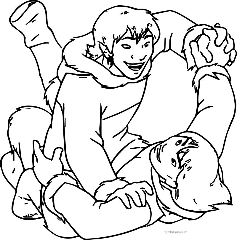 Disney Brother Bear Denahi Fight Coloring Pages