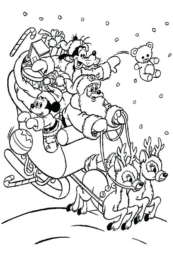 Disney Coloring Pages Christmas Sleigh