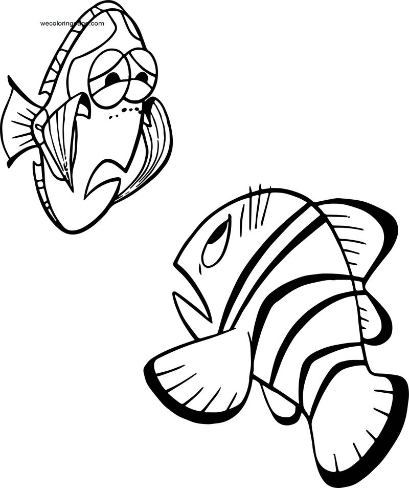 Disney Finding Nemomarlin Dory Coloring Pages 001
