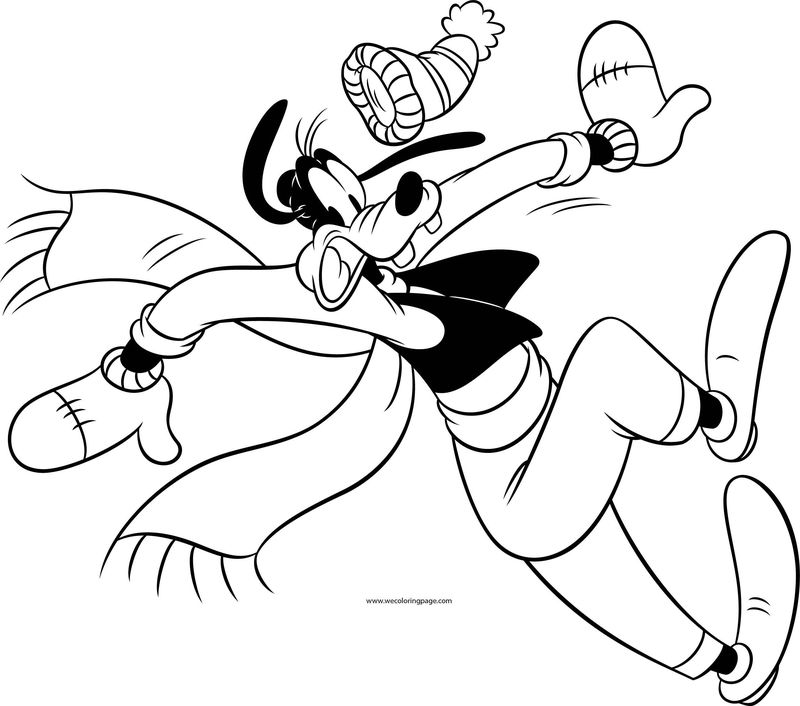 Disney Goofy Fall Slide Cold Weather Beret Coloring Page