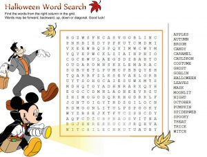 Disney halloween word search