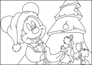 Disney micky christmast coloring page