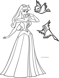 Disney princess aurora birds coloring page