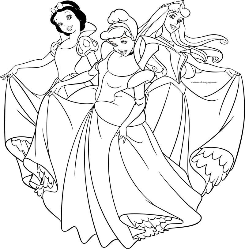 Disney Princess Girls Pose Coloring Page