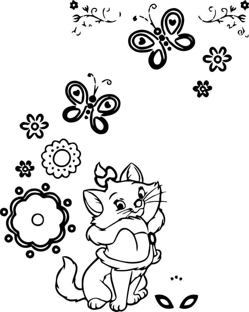 Disney The Aristocats Flower Butterfly Coloring Page
