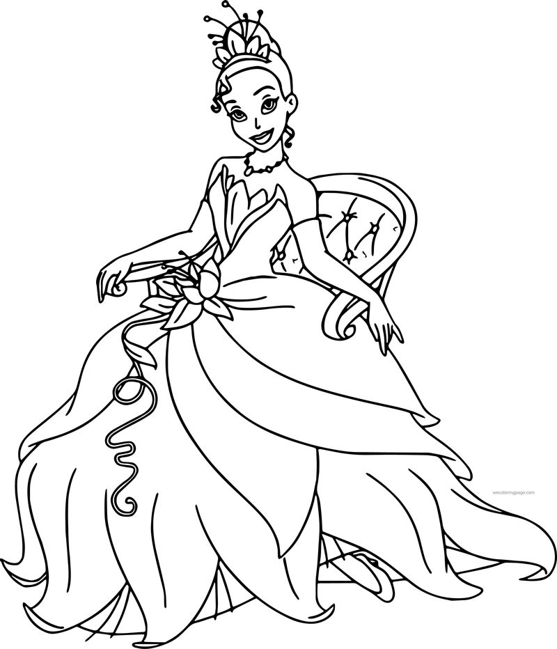 Disney The Princess And The Frog Staying Tiana Coloring ...
