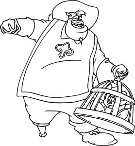 Disney the three musketeers pete carrying mickey mouse in a cage coloring pages