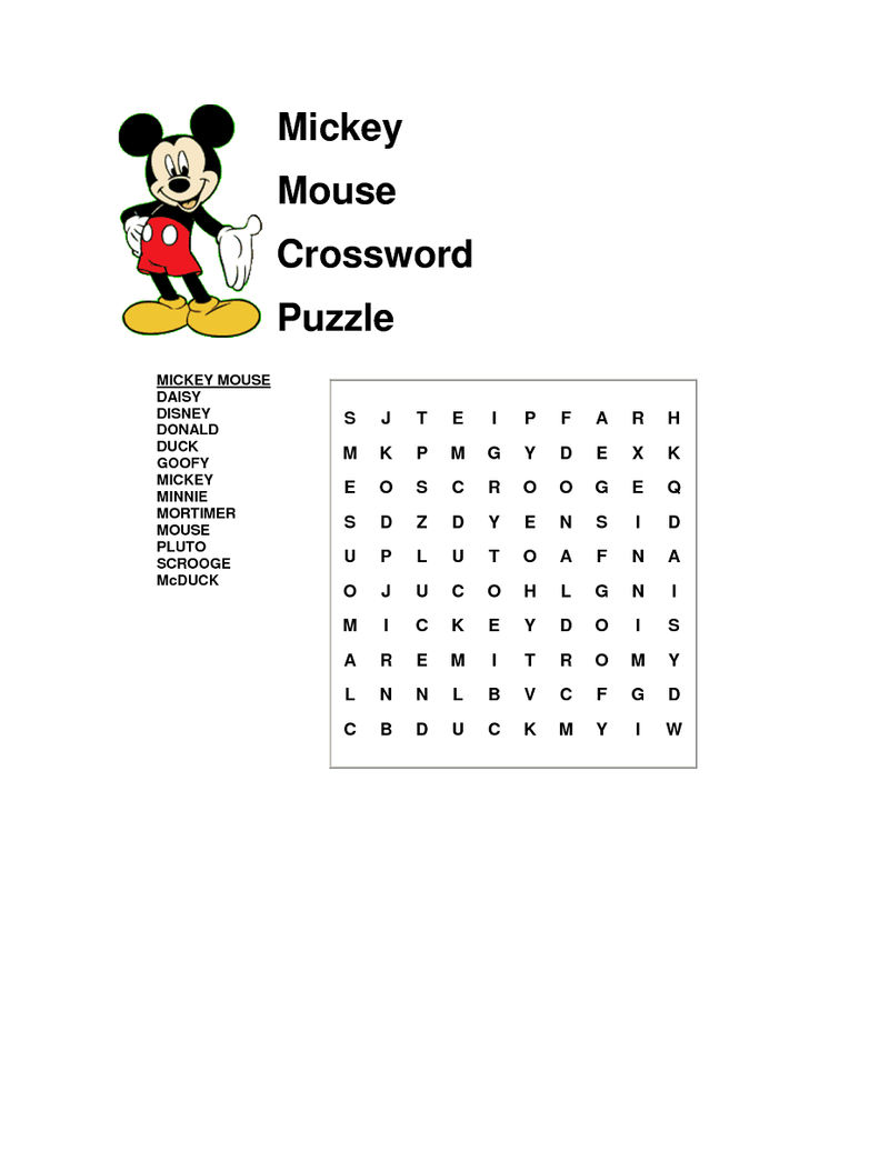 Disney Word Search Puzzles 001