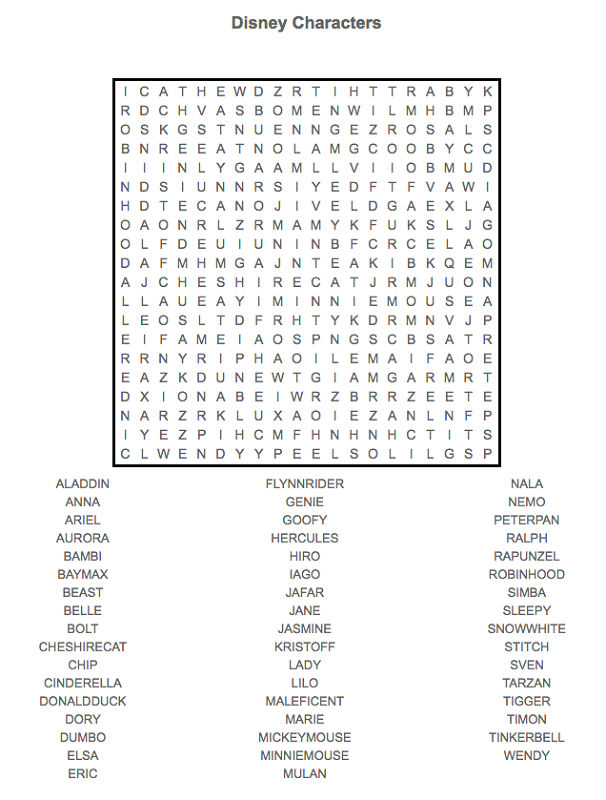 Disney Word Search Puzzles Characters