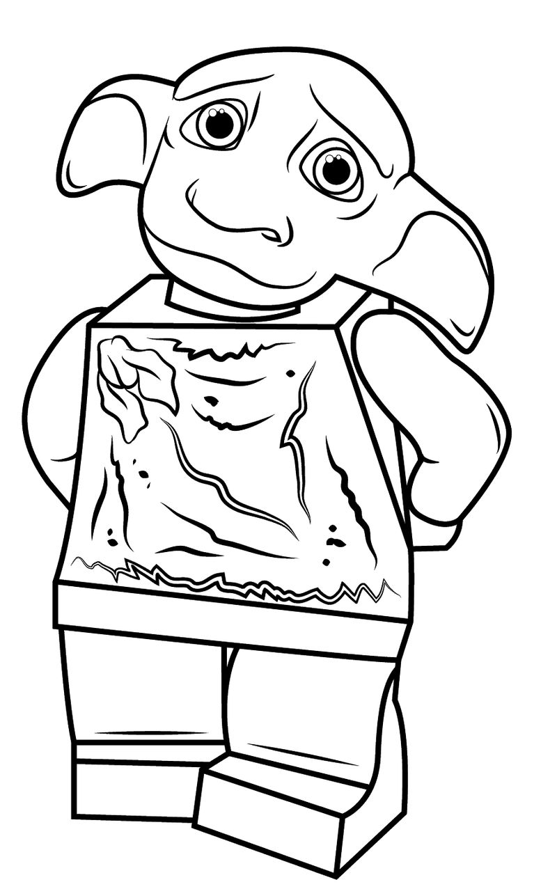 Dobby Harry Potter Lego Colouring Page Printable