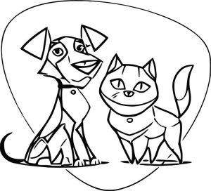 Dog and cat characters cartoonized coloring page