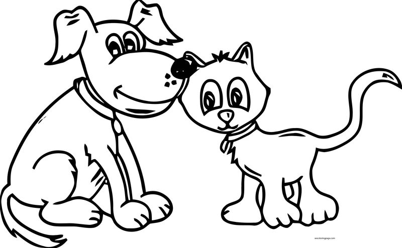 Dog And Cat Cute Coloring Pages