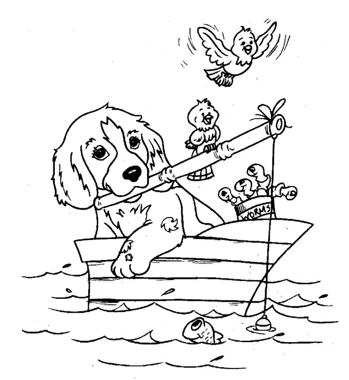 Dog Fishing Coloring Pages 001
