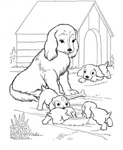 Dog house coloring pages 001