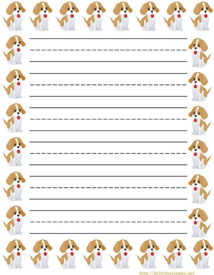 Dog Lined Paper For Kids