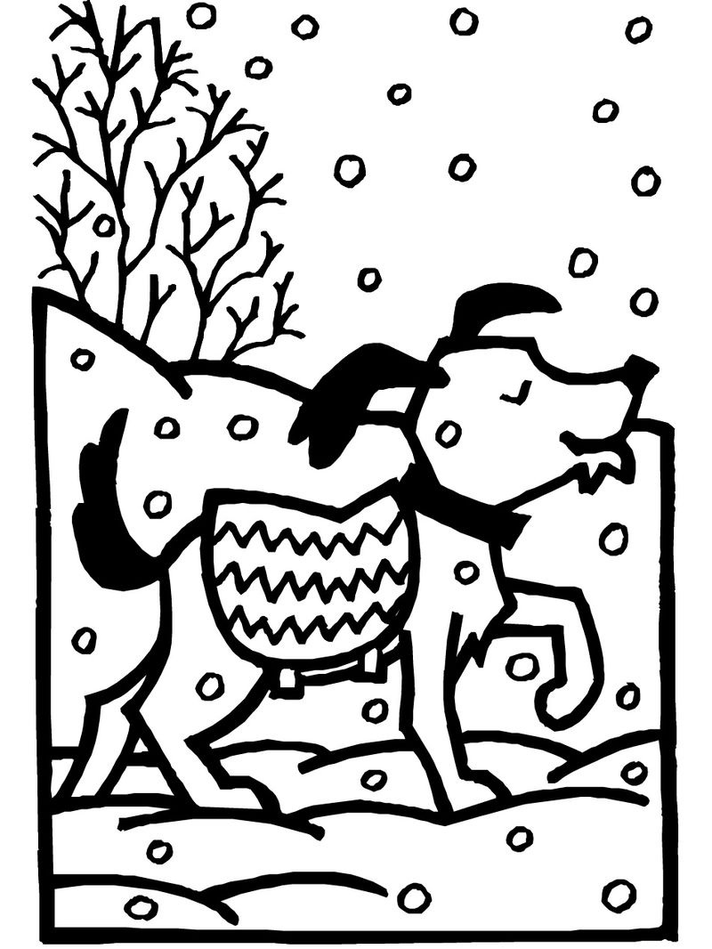 Dog Winter Animals Coloring Page