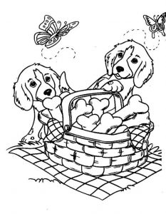 Doggy picnic dog coloring pages
