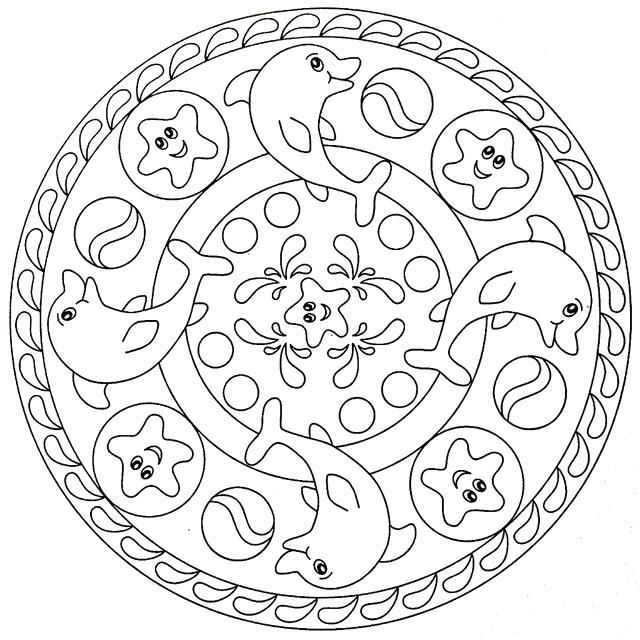 Dolphin Mandala Coloring Page For Kids