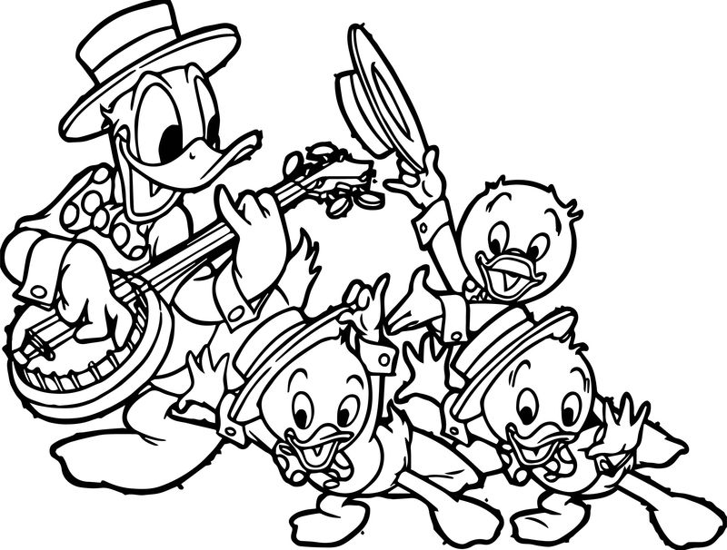 Donald Duck And Kids Duck Coloring Page