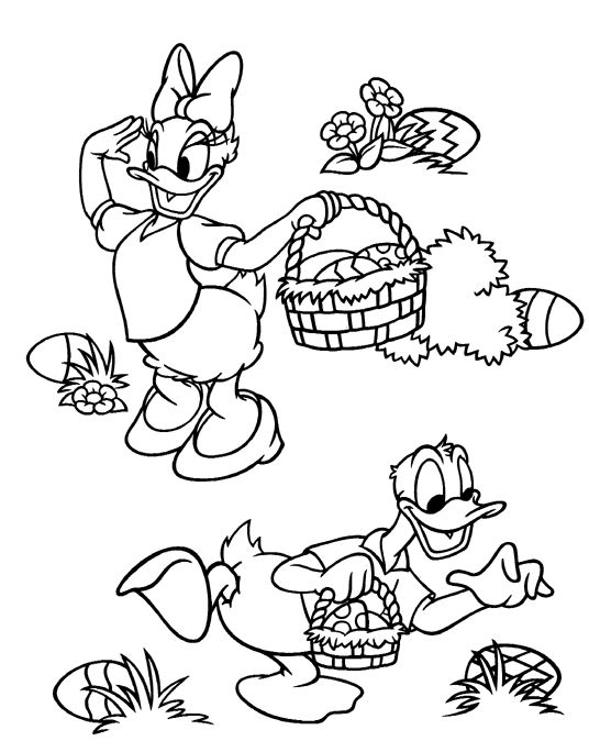 Donald Duck Easter Basket Coloring Pages