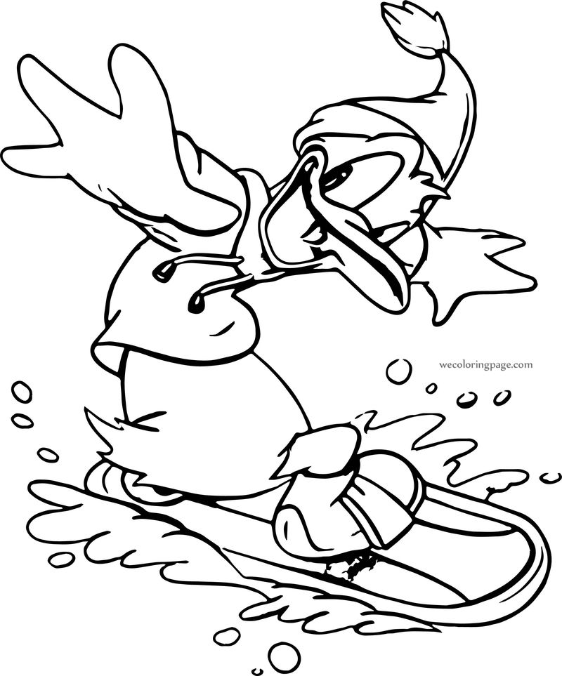 Donald Duck Snowboarding Coloring Page