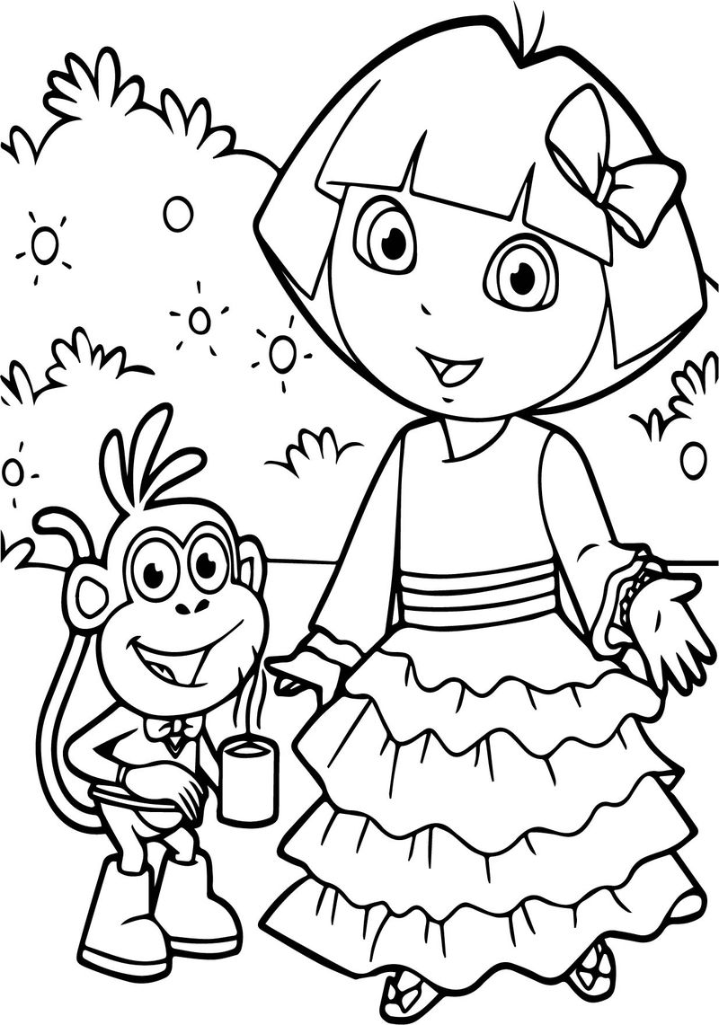 Dora And Monkey Together Coffee Coloring Page