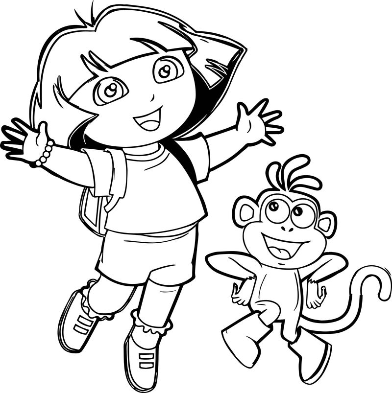 Dora And Monkey Very Happy Coloring Page