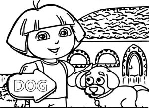 Dora casa small dog coloring page