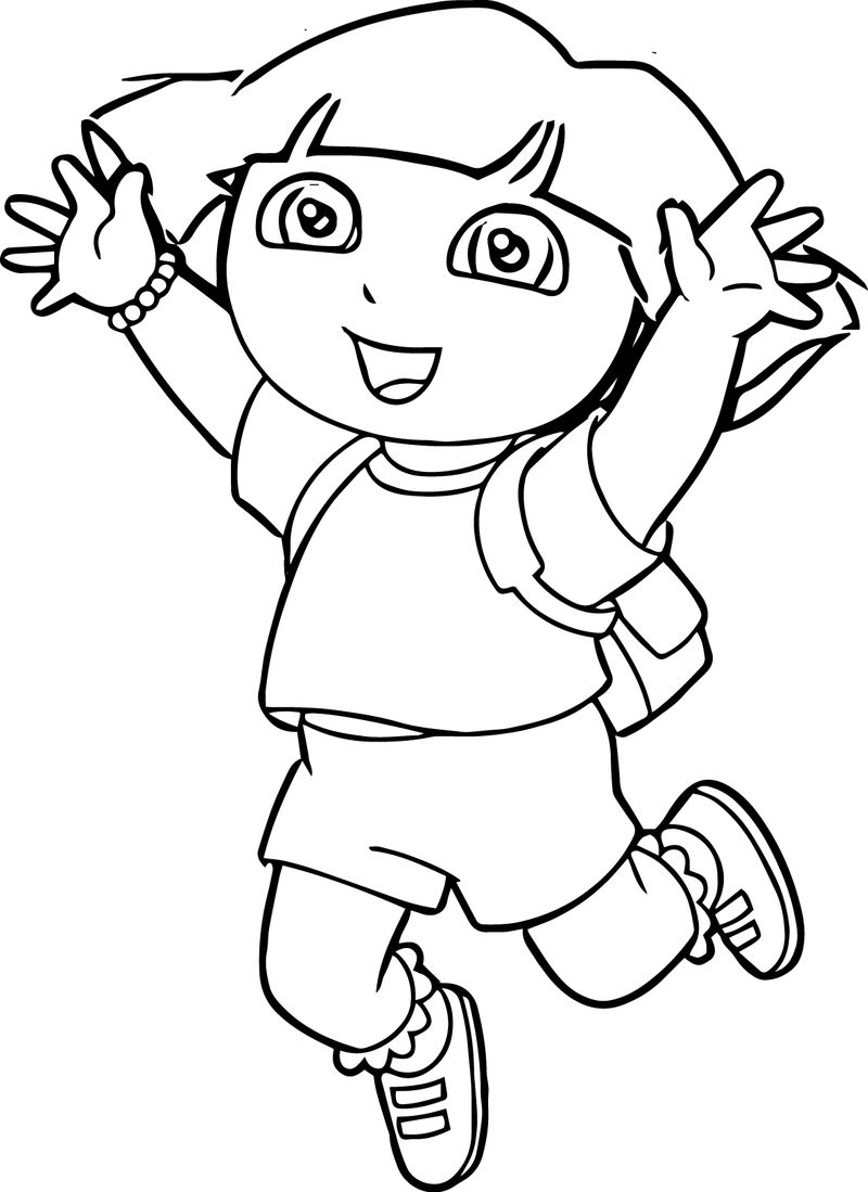Dora Image Cut Out Jump Coloring Page