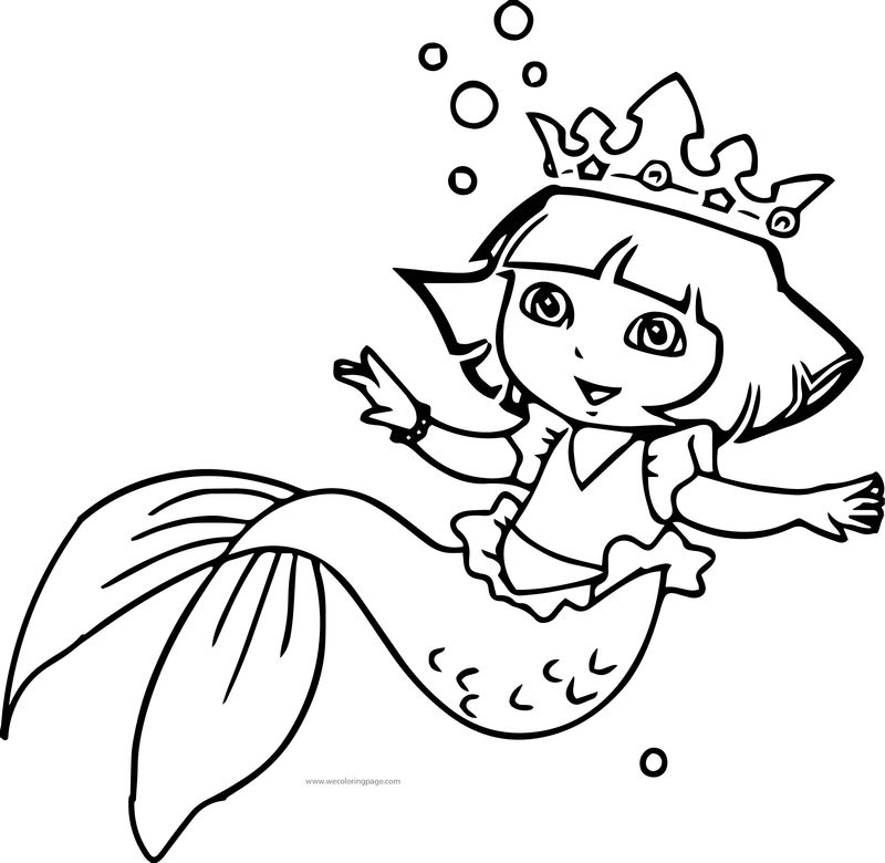 Dora Under Water Girl Coloring Page
