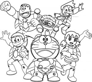 Doraemon team time coloring page