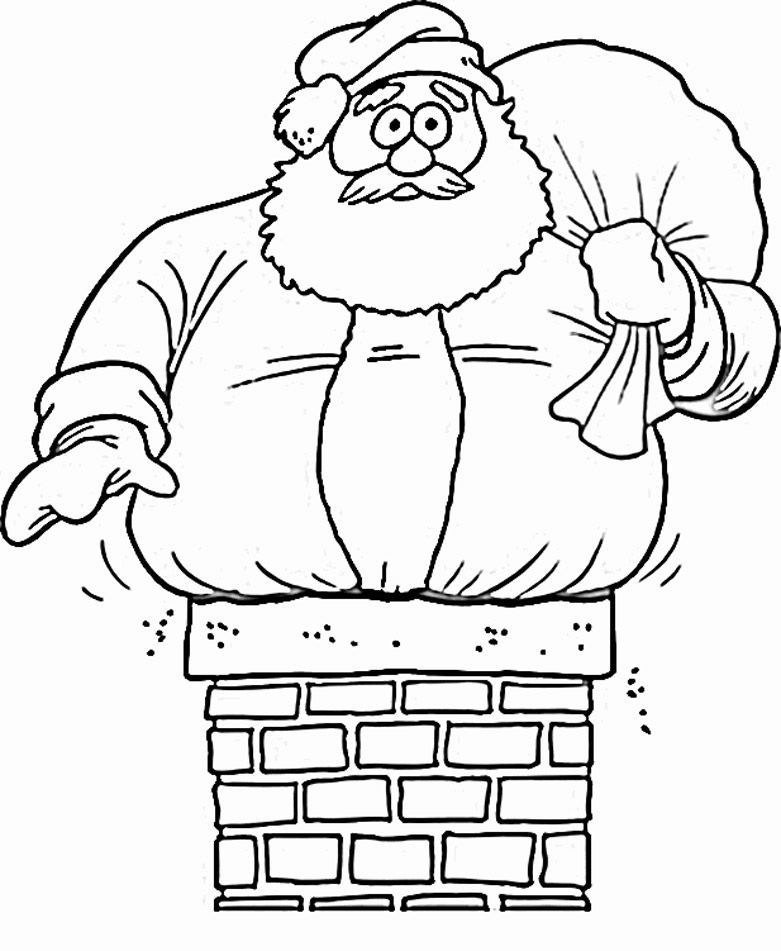 Down The Chimney Santa Coloring Pages 002