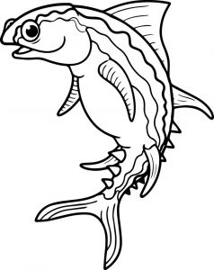 Download cartoon fish coloring page sheet